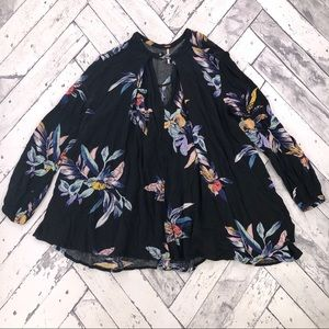 Free People Black Floral Blouse